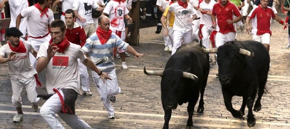 San Fermin and running of the bulls festival - Pamplona, Spain image