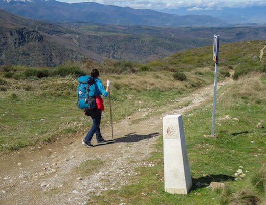 Pilgrim follow the marker on Camino Frances 6
