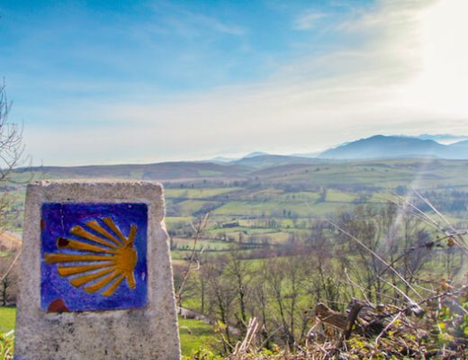 Whole Camino Primitivo - marker with scenery in background