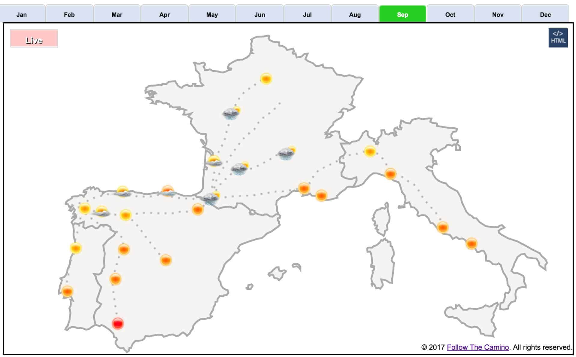 Map Of Northern Spain And Portugal.Camino Weather Map Weather On The Camino Follow The Camino
