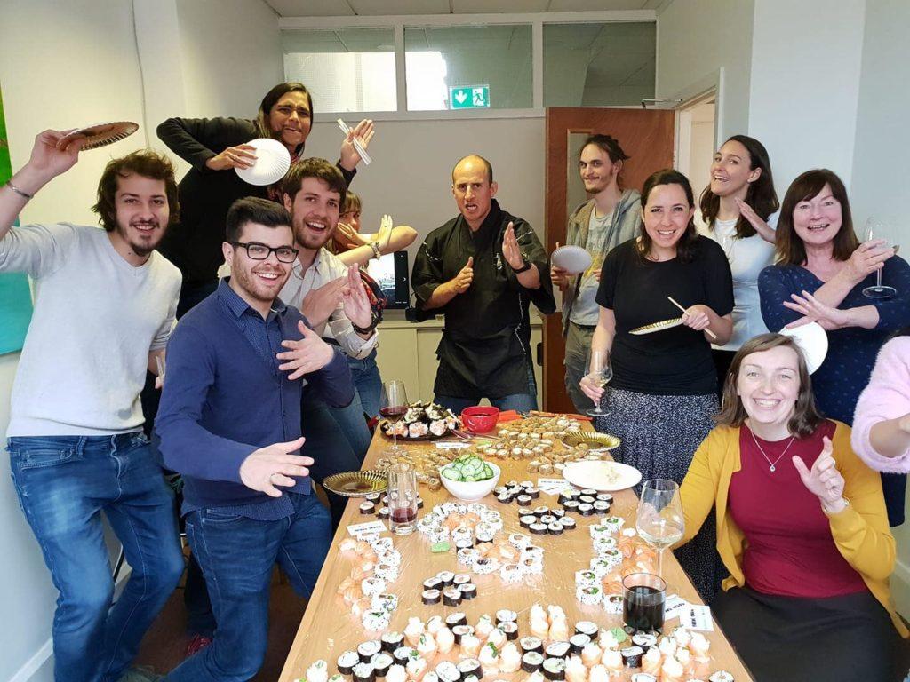Follow the Camino Team having sushi