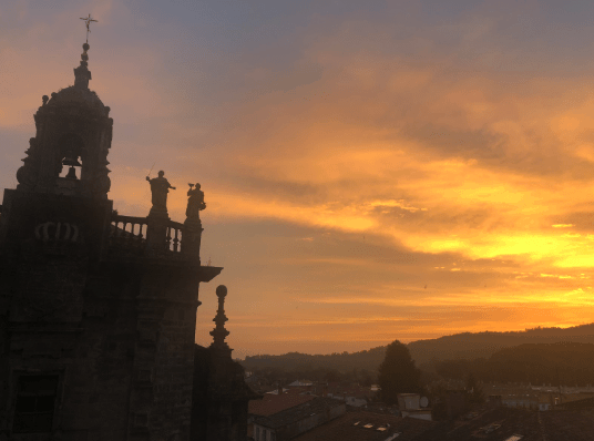Sunset from Parza do Obradoiro in Santiago