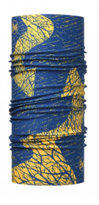 a blue and yellow camino buff
