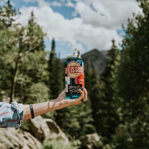 a nalgene water bottle on a hike
