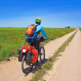 A man cycling the Camino Route
