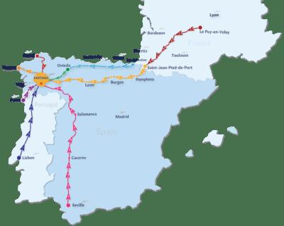 Camino de Santiago map routes