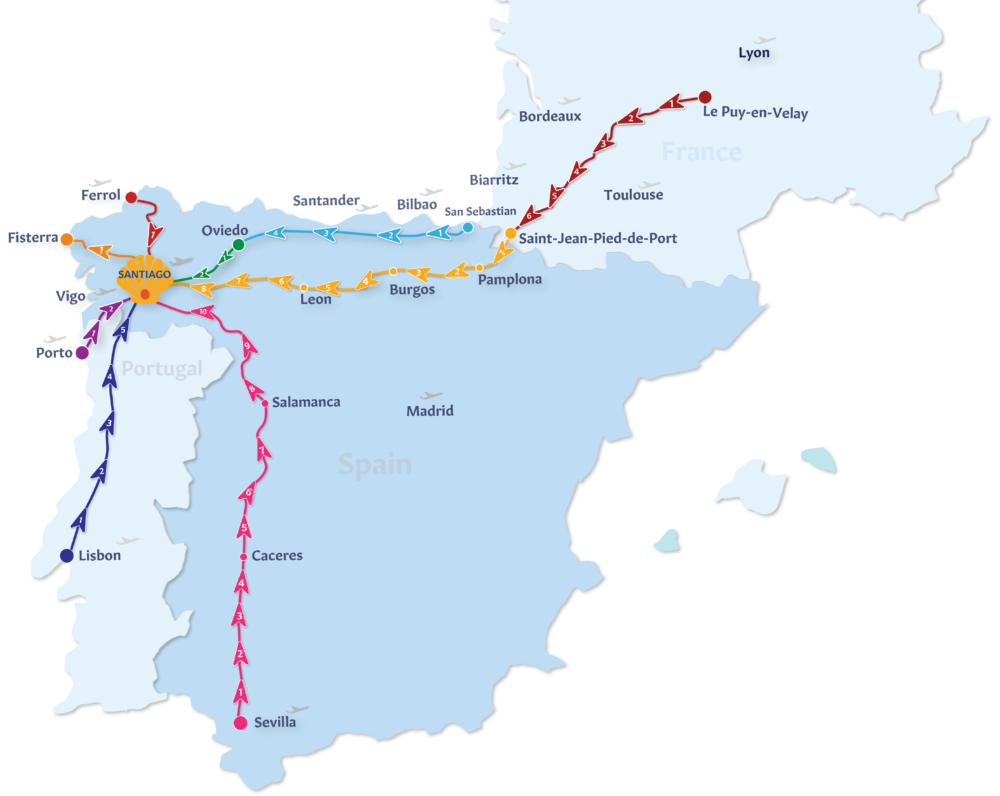 Camino de Santiago Routes Map