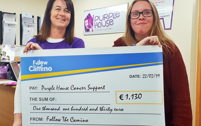 Follow the Camino paying Purple House Cancer Support bray - Charity