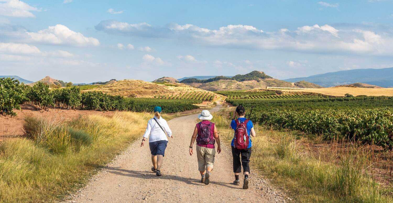 A group of pilgrim waling the Camino de Portugal route