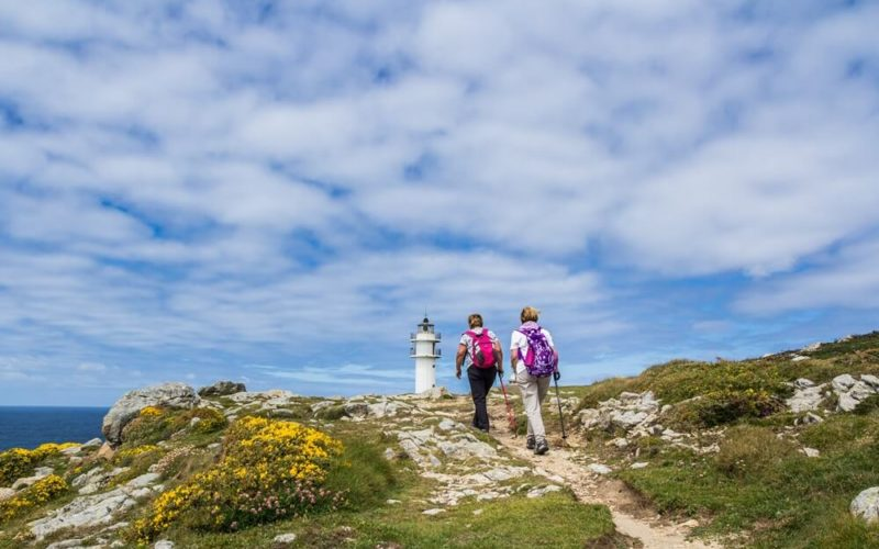 Group of pilgrims walking the Camino Portugues - beautiful landscape