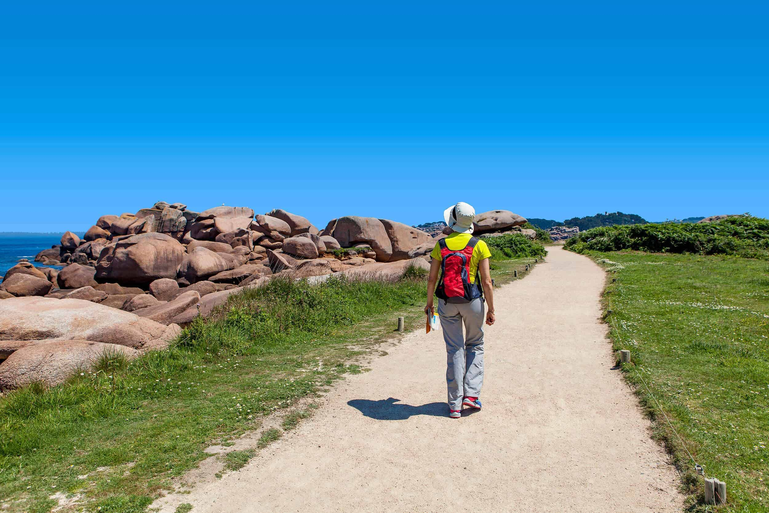 A women walking on Camino portugese coastal route