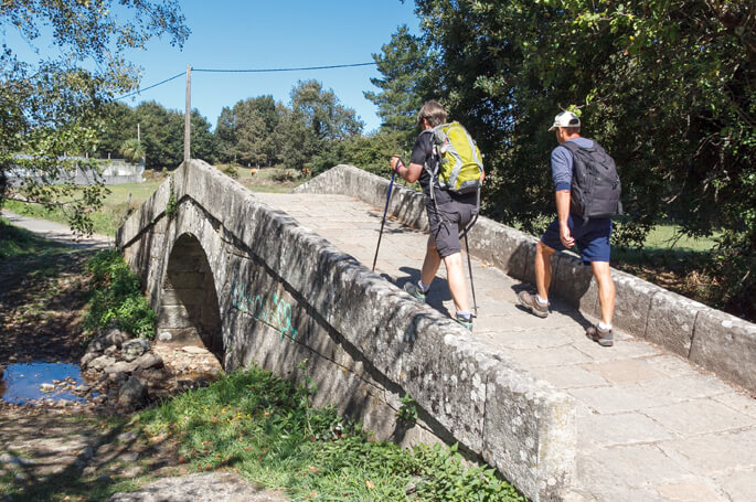 Camino Frances - Couple crossing the medieval Bridge