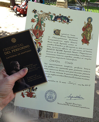 compostela certificate and credential at pilgrim's office