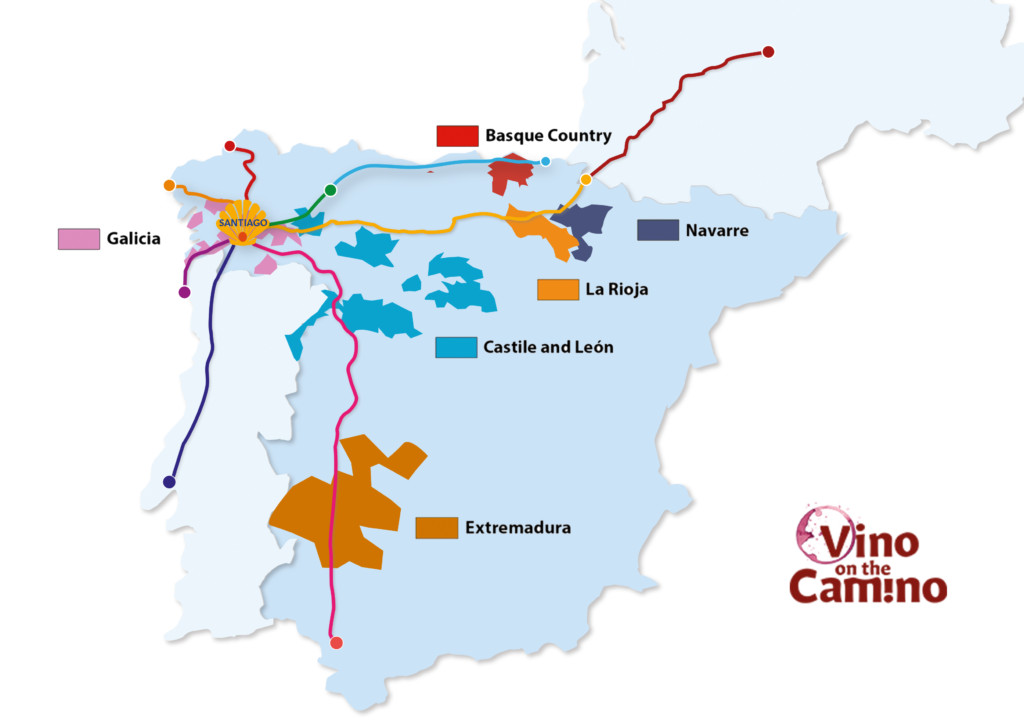 a map of the key wine regions of the camino de santiago in spain