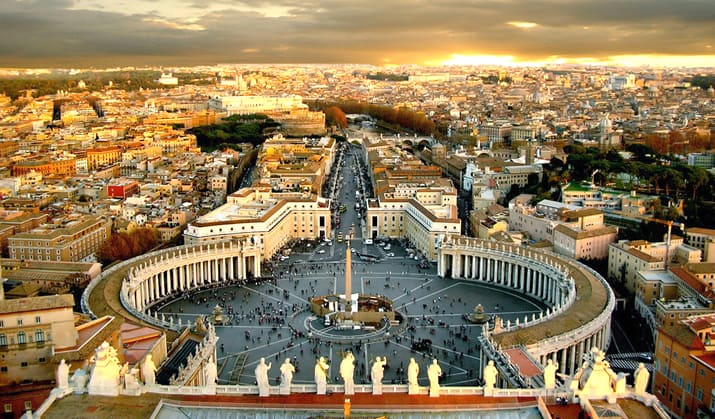 the view over Saint Peter's Basilica in Rome and Piazza San Pietro