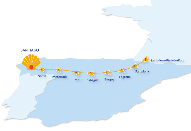 map of the French Way of the Camino