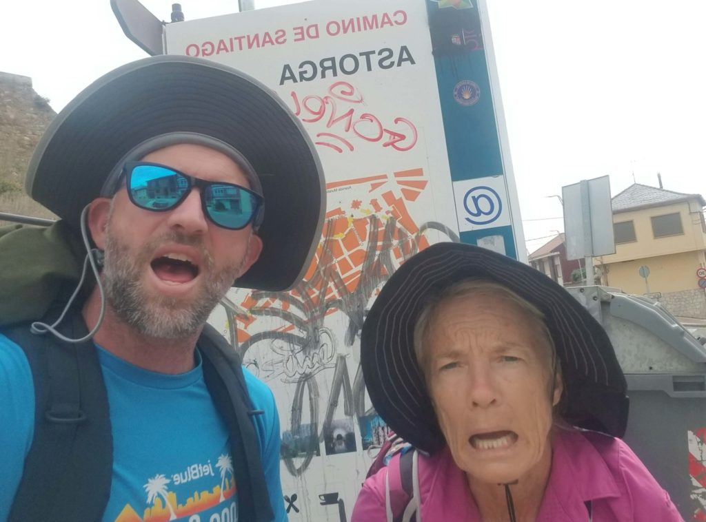 walking the camino with family - mother and son
