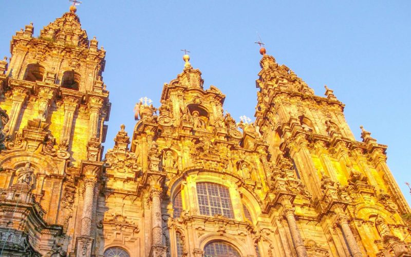 the Santiago Cathedral at sunset golden hour