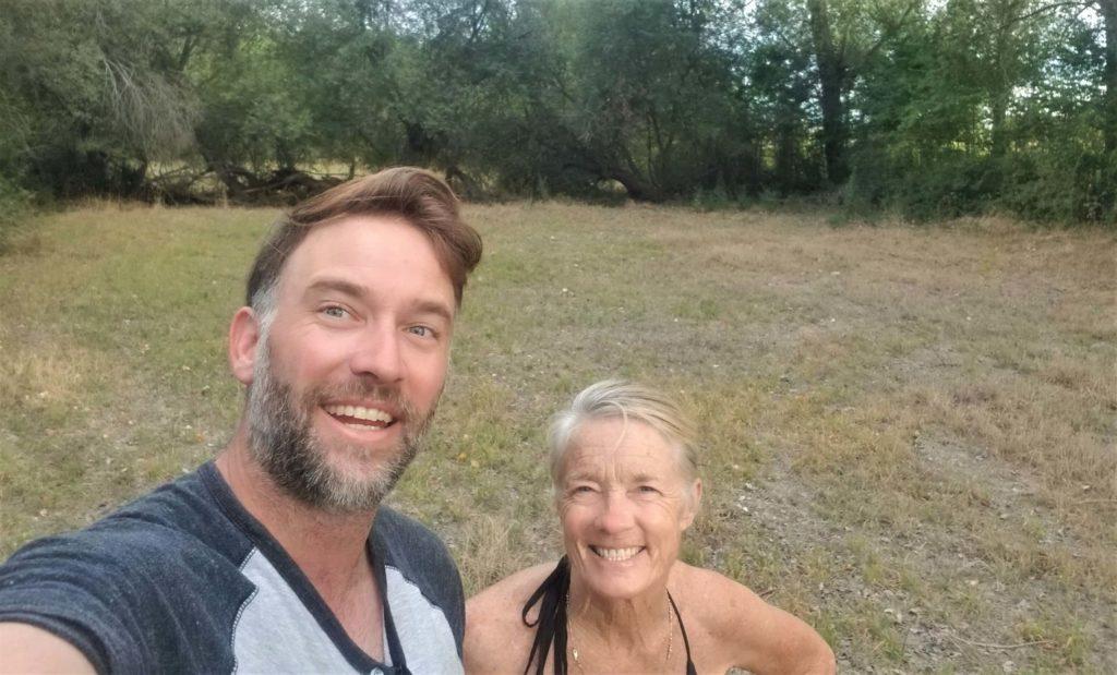 Teri and her son Trevor stopping for a yoga break on the camino de santiago