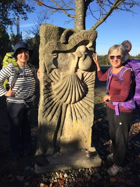 Mary on the Camino with her japanese friend.