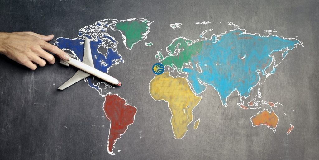 camino planning - a plane on a map flying to the Camino de Santiago