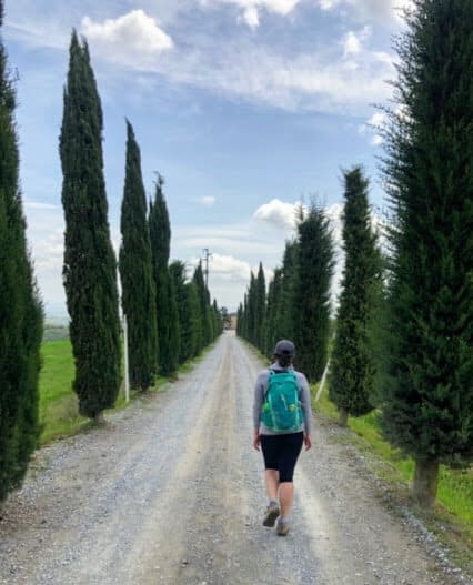 Katherine walking the Via Francigena from Lucca to Siena