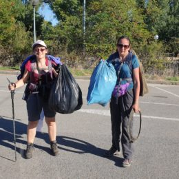 sandra and carla with bags of plastic