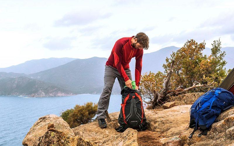 osprey backpack gear cliff scenery