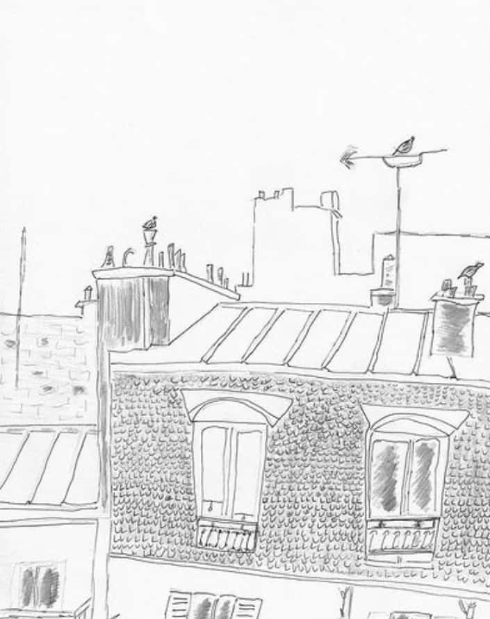 a sketch from Onward, Backward! -or- A Ramble to Santiago - pigeons on chimneys in