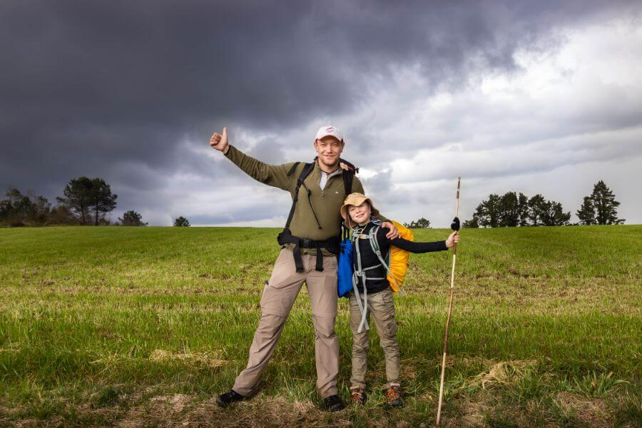 Max with his child on the Camino