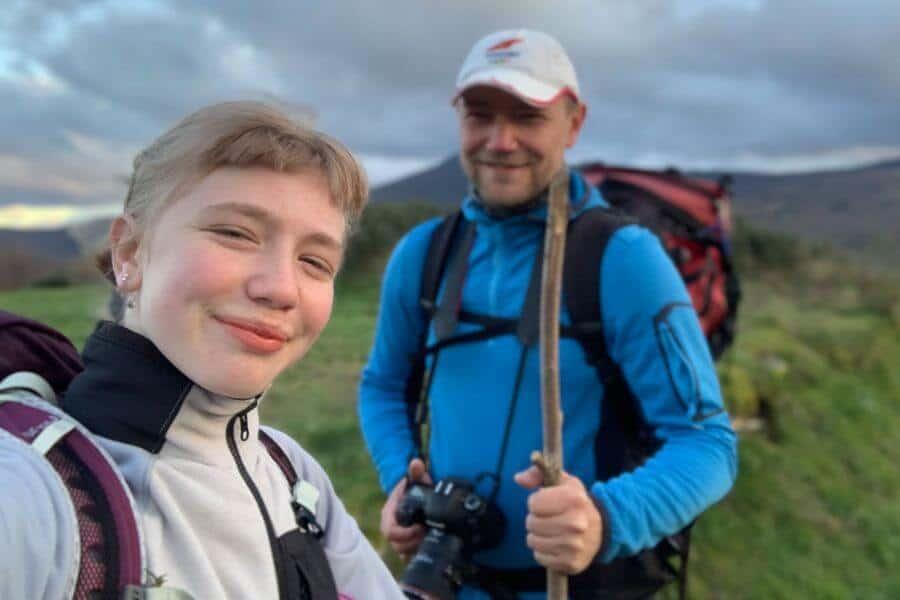 Selfie: Max and his daughter Annika (14) on the Way to La Laguna