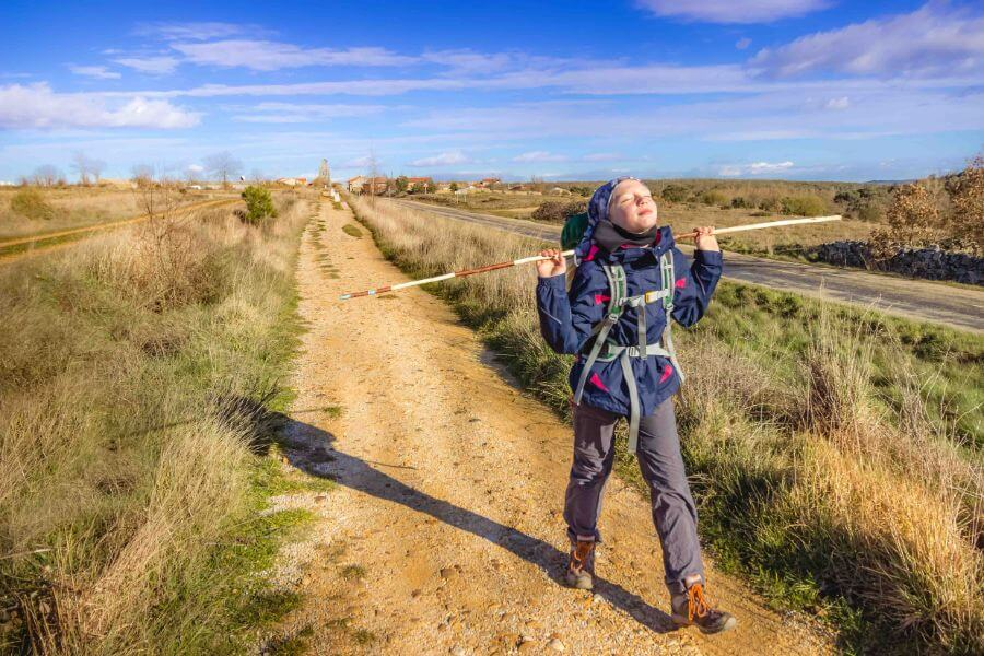 Annika, aged 10, walking the Camino for the first time as a child