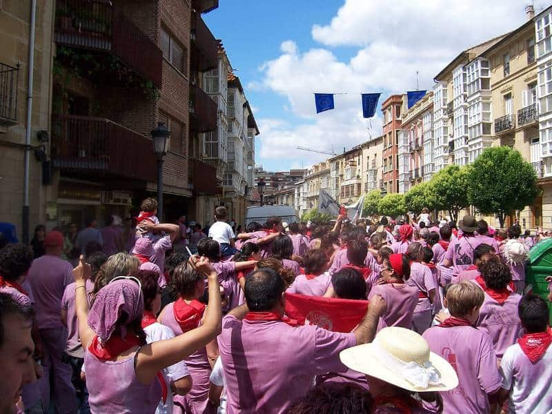Batalla del vino being celebrated on the Camino on St Peter's Day