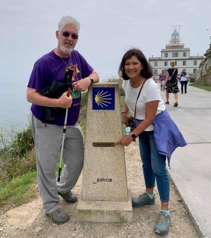 Ken and Rory at the 0km marker at finisterre - the end of the Camino